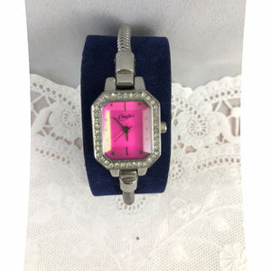 Candie's Accessories - Candies Pink Crystal face Snake Bracelet Watch